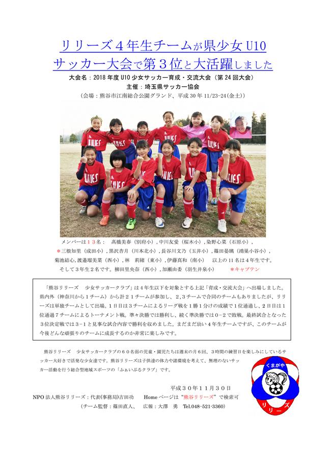 リリーズ4年生チームが県少女U10サッカー大会で第3位と大活躍しました